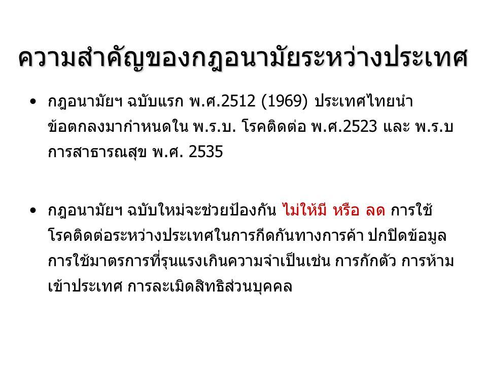 ความสำคัญของกฎอนามัยระหว่างประเทศ กฎอนามัยฯ ฉบับแรก พ.ศ.2512 (1969) ประเทศไทยนำ ข้อตกลงมากำหนดใน พ.ร.บ. โรคติดต่อ พ.ศ.2523 และ พ.ร.บ การสาธารณสุข พ.ศ.
