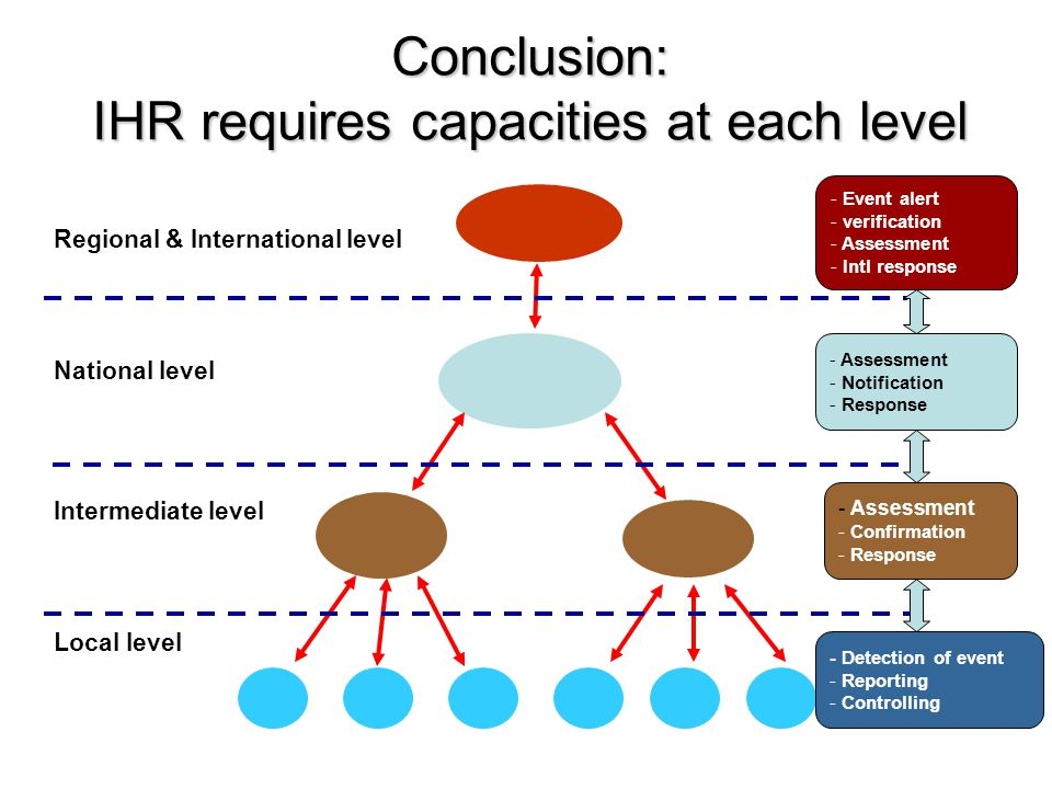 Conclusion: IHR requires capacities at each level Local level National level Intermediate level Regional & International level - Detection of event - Reporting - Controlling - Assessment - Confirmation - Response - Assessment - Notification - Response - Event alert - verification - Assessment - Intl response
