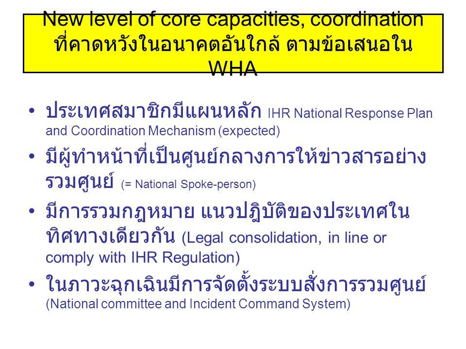 New level of core capacities, coordination ที่คาดหวังในอนาคตอันใกล้ ตามข้อเสนอใน WHA ประเทศสมาชิกมีแผนหลัก IHR National Response Plan and Coordination Mechanism (expected) มีผู้ทำหน้าที่เป็นศูนย์กลางการให้ข่าวสารอย่าง รวมศูนย์ (= National Spoke-person) มีการรวมกฎหมาย แนวปฎิบัติของประเทศใน ทิศทางเดียวกัน (Legal consolidation, in line or comply with IHR Regulation) ในภาวะฉุกเฉินมีการจัดตั้งระบบสั่งการรวมศูนย์ (National committee and Incident Command System)