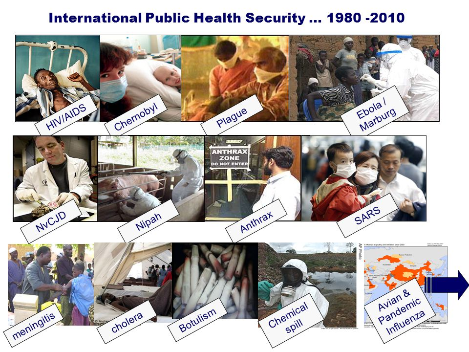 International Public Health Security … 1980 -2010 HIV/AIDSChernobyl Plague Ebola / Marburg NvCJD Nipah Anthrax SARS meningitis Avian & Pandemic Influe
