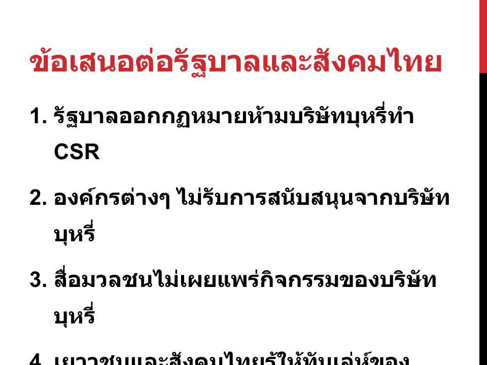ข้อเสนอต่อรัฐบาลและสังคมไทย 1. รัฐบาลออกกฏหมายห้ามบริษัทบุหรี่ทำ CSR 2. องค์กรต่างๆ ไม่รับการสนับสนุนจากบริษัท บุหรี่ 3. สื่อมวลชนไม่เผยแพร่กิจกรรมของ