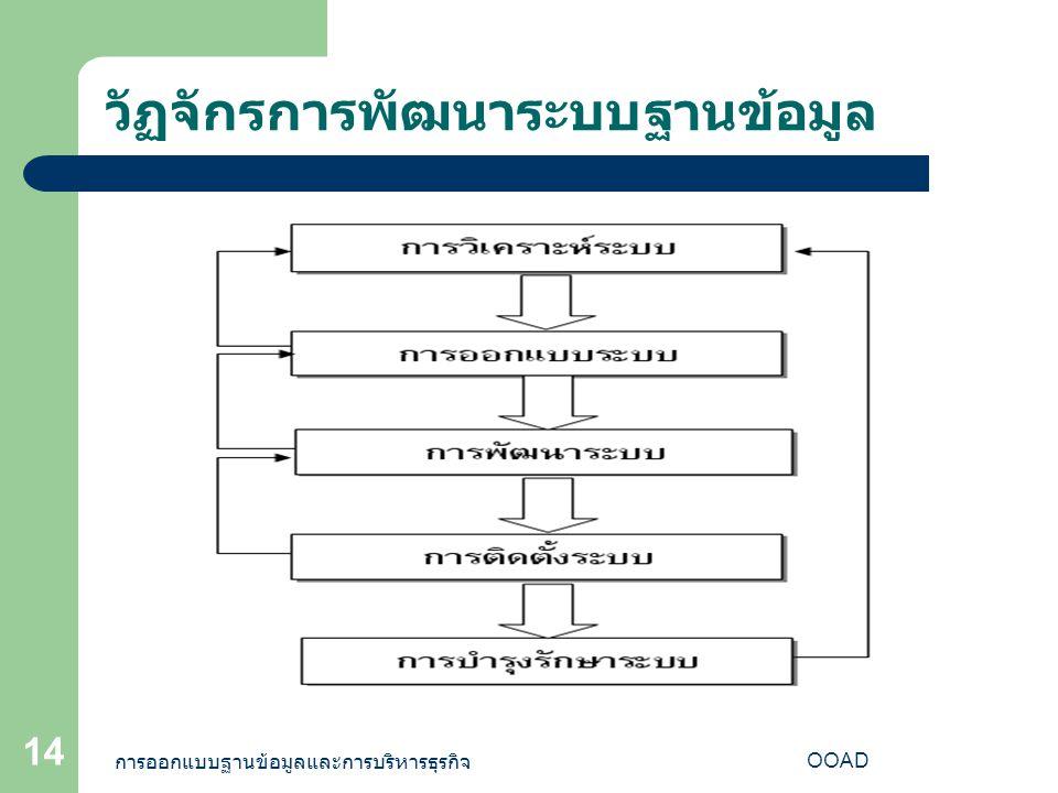 การออกแบบฐานข้อมูลและการบริหารธุรกิจ OOAD 14 วัฏจักรการพัฒนาระบบฐานข้อมูล