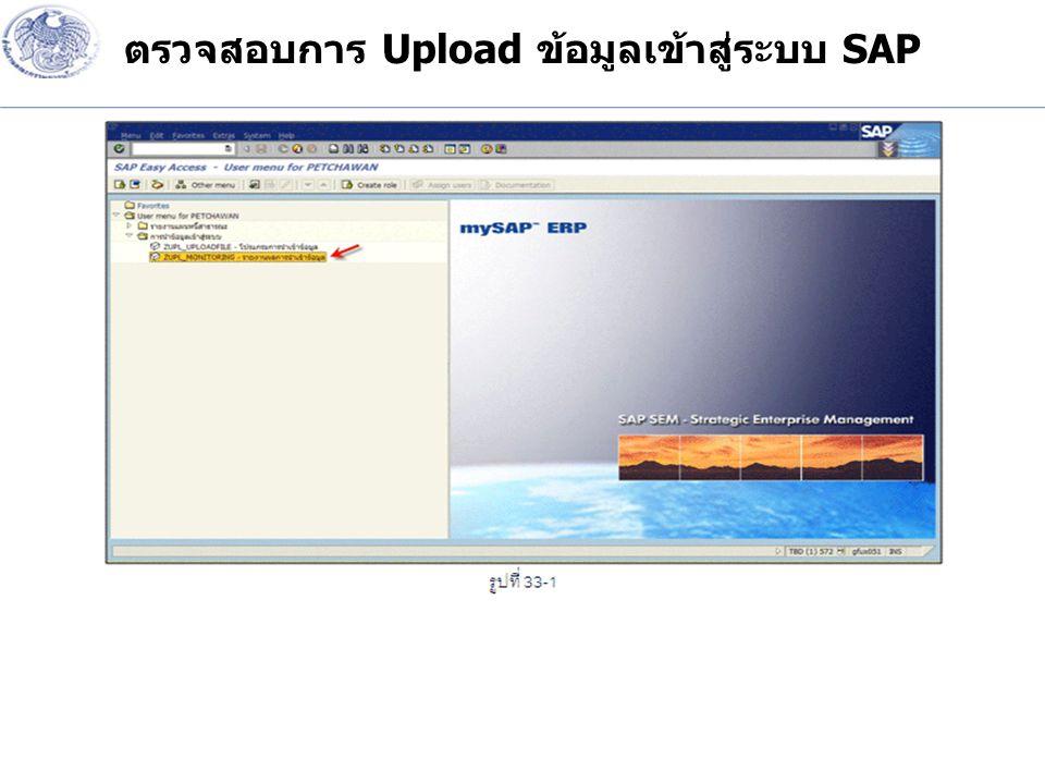 ตรวจสอบการ Upload ข้อมูลเข้าสู่ระบบ SAP