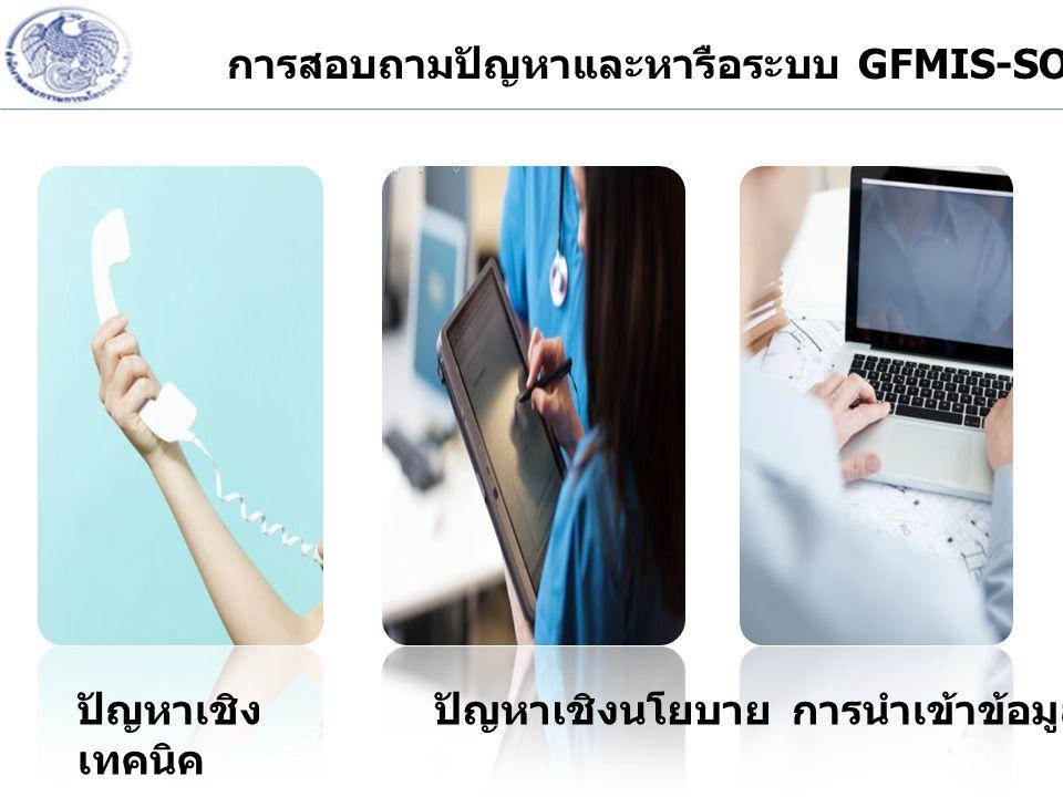 การสอบถามปัญหาและหารือระบบ GFMIS-SOE ปัญหาเชิง เทคนิค ปัญหาเชิงนโยบายการนำเข้าข้อมูล