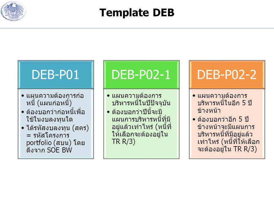 DEB-P01 แผนความต้องการก่อ หนี้ ( แผนก่อหนี้ ) ต้องบอกว่าก่อหนี้เพื่อ ใช้ในงบลงทุนใด ได้รหัสงบลงทุน ( สคร ) = รหัสโครงการ portfolio ( สบน ) โดย ดึงจาก SOE BW DEB-P02-1 แผนความต้องการ บริหารหนี้ในปีปัจจุบัน ต้องบอกว่าปีนี้จะมี แผนการบริหารหนี้ที่มี อยู่แล้วเท่าไหร่ ( หนี้ที่ ให้เลือกจะต้องอยู่ใน TR R/3) DEB-P02-2 แผนความต้องการ บริหารหนี้ในอีก 5 ปี ข้างหน้า ต้องบอกว่าอีก 5 ปี ข้างหน้าจะมีแผนการ บริหารหนี้ที่มีอยู่แล้ว เท่าไหร่ ( หนี้ที่ให้เลือก จะต้องอยู่ใน TR R/3) Template DEB