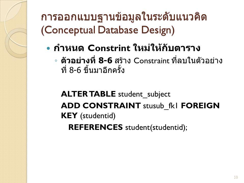การออกแบบฐานข้อมูลในระดับแนวคิด (Conceptual Database Design) กำหนด Constrint ใหม่ให้กับตาราง ◦ ตัวอย่างที่ 8-6 สร้าง Constraint ที่ลบในตัวอย่าง ที่ 8-