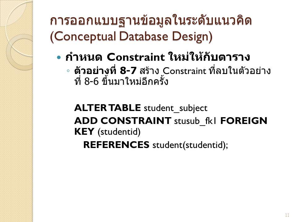 การออกแบบฐานข้อมูลในระดับแนวคิด (Conceptual Database Design) กำหนด Constraint ใหม่ให้กับตาราง ◦ ตัวอย่างที่ 8-7 สร้าง Constraint ที่ลบในตัวอย่าง ที่ 8