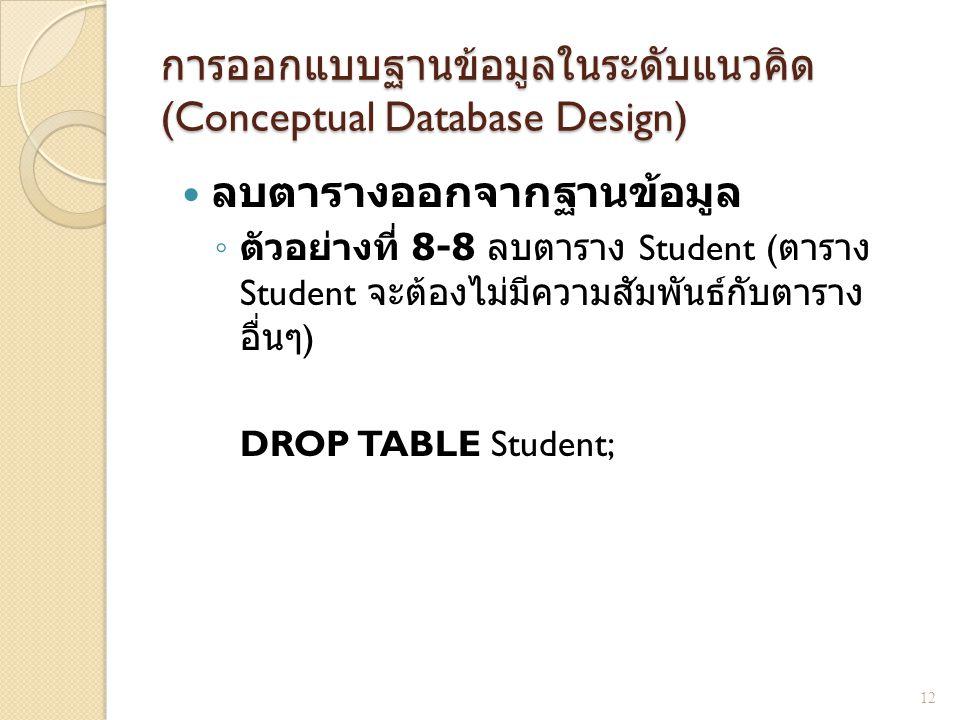 การออกแบบฐานข้อมูลในระดับแนวคิด (Conceptual Database Design) ลบตารางออกจากฐานข้อมูล ◦ ตัวอย่างที่ 8-8 ลบตาราง Student ( ตาราง Student จะต้องไม่มีความส