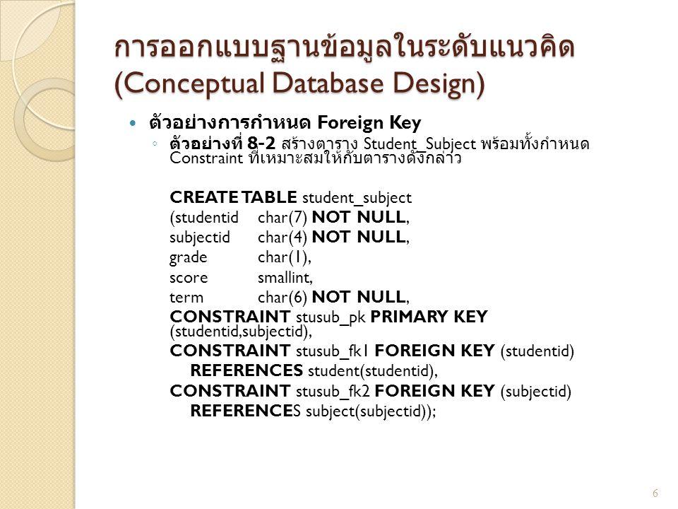 การออกแบบฐานข้อมูลในระดับแนวคิด (Conceptual Database Design) เพิ่มคอลัมน์ใหม่ให้กับตารางที่มีอยู่ แล้ว ◦ ตัวอย่างที่ 8-3 จงเพิ่มคอลัมน์สำหรับเก็บ ที่อยู่ของนักศึกษาเข้าไปในตาราง Student ALTER TABLE student ADD address varchar(50); 7