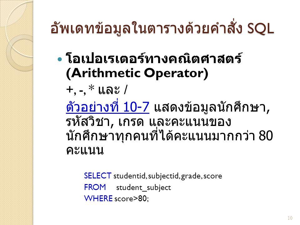 อัพเดทข้อมูลในตารางด้วยคำสั่ง SQL โอเปอเรเตอร์ทางคณิตศาสตร์ (Arithmetic Operator) +, -, * และ / ตัวอย่างที่ 10-7 แสดงข้อมูลนักศึกษา, รหัสวิชา, เกรด แล