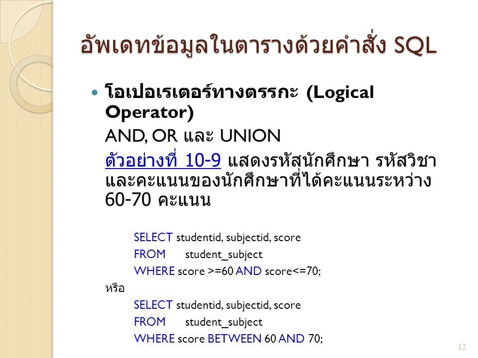 อัพเดทข้อมูลในตารางด้วยคำสั่ง SQL โอเปอเรเตอร์ทางตรรกะ (Logical Operator) AND, OR และ UNION ตัวอย่างที่ 10-9 แสดงรหัสนักศึกษา รหัสวิชา และคะแนนของนักศ