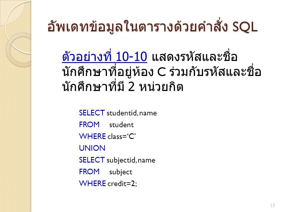 อัพเดทข้อมูลในตารางด้วยคำสั่ง SQL ตัวอย่างที่ 10-10 แสดงรหัสและชื่อ นักศึกษาที่อยู่ห้อง C ร่วมกับรหัสและชื่อ นักศึกษาที่มี 2 หน่วยกิต SELECT studentid