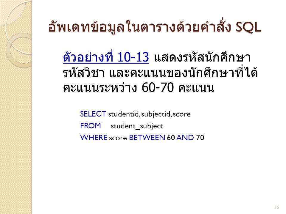 อัพเดทข้อมูลในตารางด้วยคำสั่ง SQL ตัวอย่างที่ 10- 13 แสดงรหัสนักศึกษา รหัสวิชา และคะแนนของนักศึกษาที่ได้ คะแนนระหว่าง 60-70 คะแนน SELECT studentid, su