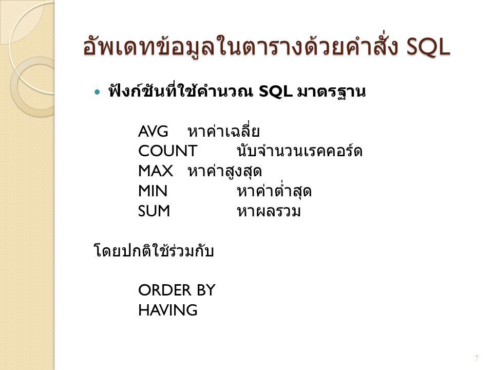 อัพเดทข้อมูลในตารางด้วยคำสั่ง SQL ฟังก์ชันที่ใช้คำนวณ SQL มาตรฐาน AVG หาค่าเฉลี่ย COUNT นับจำนวนเรคคอร์ด MAX หาค่าสูงสุด MIN หาค่าต่ำสุด SUM หาผลรวม โ