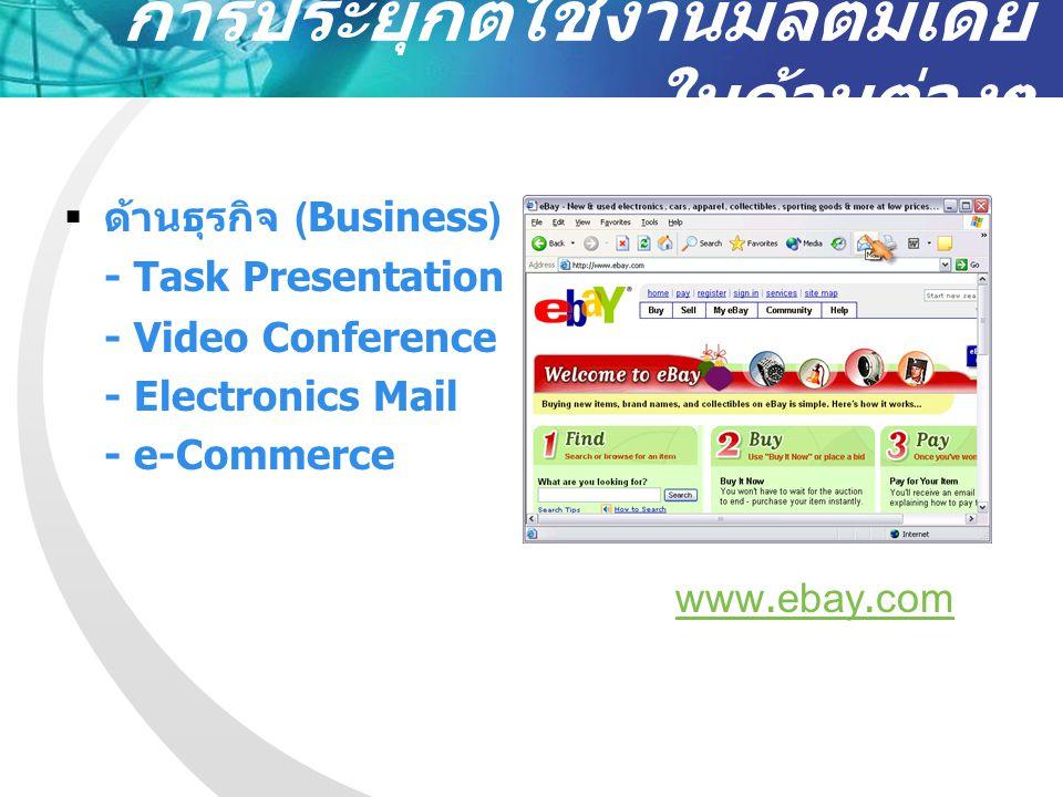 การประยุกต์ใช้งาน มัลติมีเดียในด้านต่างๆ  ด้านการประชาสัมพันธ์ (Public Relation) - e-News - e-Product - e-Advertising - Live Broadcasting - Multimedia Kiosk