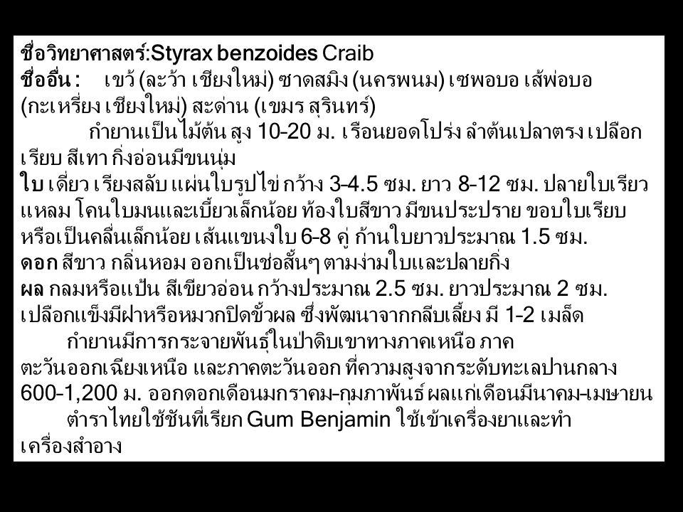 ชื่อวิทยาศาสตร์:Styrax benzoides Craib ชื่ออื่น : เขว้ (ละว้า เชียงใหม่) ซาดสมิง (นครพนม) เซพอบอ เส้พ่อบอ (กะเหรี่ยง เชียงใหม่) สะด่าน (เขมร สุรินทร์) กำยานเป็นไม้ต้น สูง 10–20 ม.