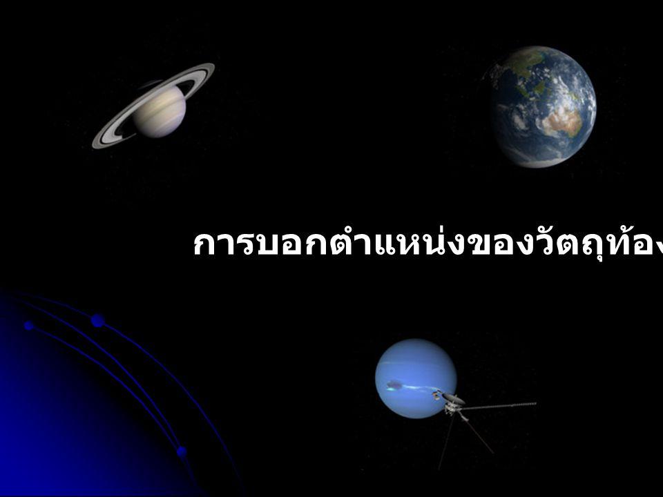 การบอกตำแหน่งของวัตถุท้องฟ้า คำว่า วัตถุท้องฟ้า ในวิชาดาราศาสตร์ หมายถึงทุกสิ่งทุกอย่างที่อยู่บนท้องฟ้าซึ่งเรา สามารถมองเห็นได้ด้วยตาเปล่าและ มองไม่เห็นด้วยตาเปล่า เช่น ดวงอาทิตย์ ดวงจันทร์ ดวงดาวต่าง ๆ ทั้งดาวฤกษ์ ดาวเคราะห์ รวมทั้งดาวเทียมยานอวกาศและหอวิจัย ลอยฟ้า เป็นต้น ในทางดาราศาสตร์การบอกตำแหน่งของวัตถุท้องฟ้าสามารถบอกได้หลายระบบแต่ระบบ ที่นิยมใช้กัน มากคือ ระบบเส้นขอบฟ้า