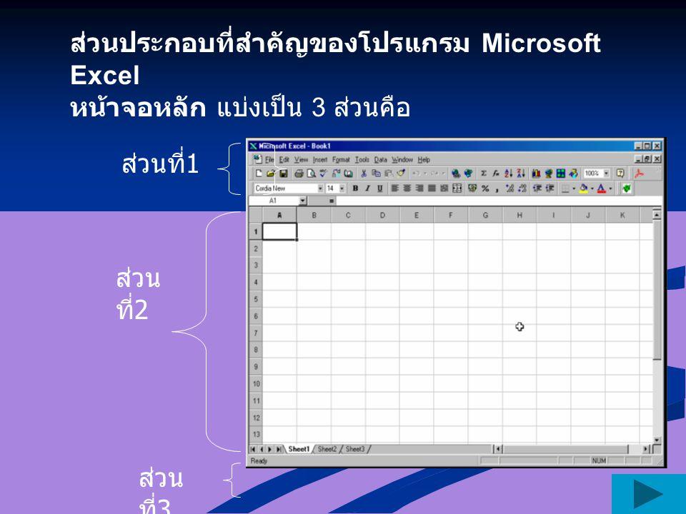ส่วนประกอบที่สำคัญของโปรแกรม Microsoft Excel หน้าจอหลัก แบ่งเป็น 3 ส่วนคือ ส่วนที่ 1 ส่วน ที่ 2 ส่วน ที่ 3
