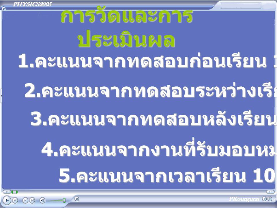 PHYSICS2005 PKoungurai สอบผลสัมฤทธิ์ การเรียน 1.คะแนนสอบกลางภาค 20 คะแนน 2.คะแนนสอบปลายภาค 30 คะแนน