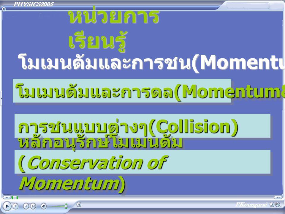 PHYSICS2005 PKoungurai หน่วยการ เรียนรู้ โมเมนตัมและการชน(Momentum&Collisions) โมเมนตัมและการดล (Momentum&Impulse) โมเมนตัมและการดล(Momentum&Impulse)