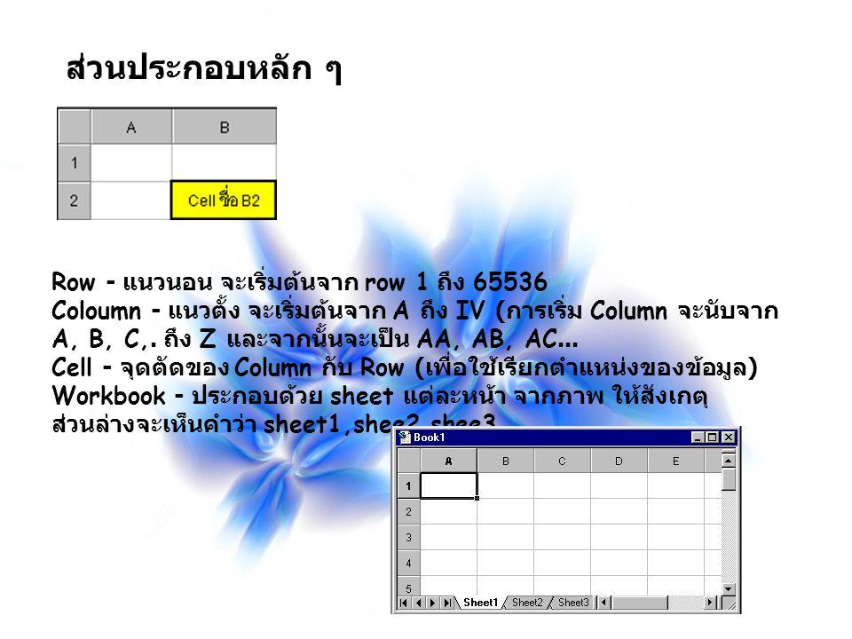 ส่วนประกอบหลัก ๆ Row - แนวนอน จะเริ่มต้นจาก row 1 ถึง 65536 Coloumn - แนวตั้ง จะเริ่มต้นจาก A ถึง IV ( การเริ่ม Column จะนับจาก A, B, C,. ถึง Z และจาก