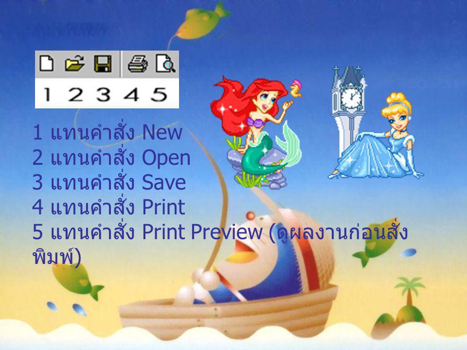 1 แทนคำสั่ง New 2 แทนคำสั่ง Open 3 แทนคำสั่ง Save 4 แทนคำสั่ง Print 5 แทนคำสั่ง Print Preview ( ดูผลงานก่อนสั่ง พิมพ์ )