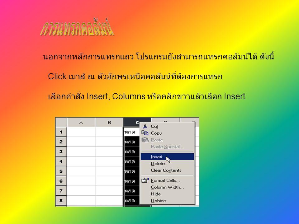 นอกจากหลักการแทรกแถว โปรแกรมยังสามารถแทรกคอลัมน์ได้ ดังนี้ Click เมาส์ ณ ตัวอักษรเหนือคอลัมน์ที่ต้องการแทรก เลือกคำสั่ง Insert, Columns หรือคลิกขวาแล้