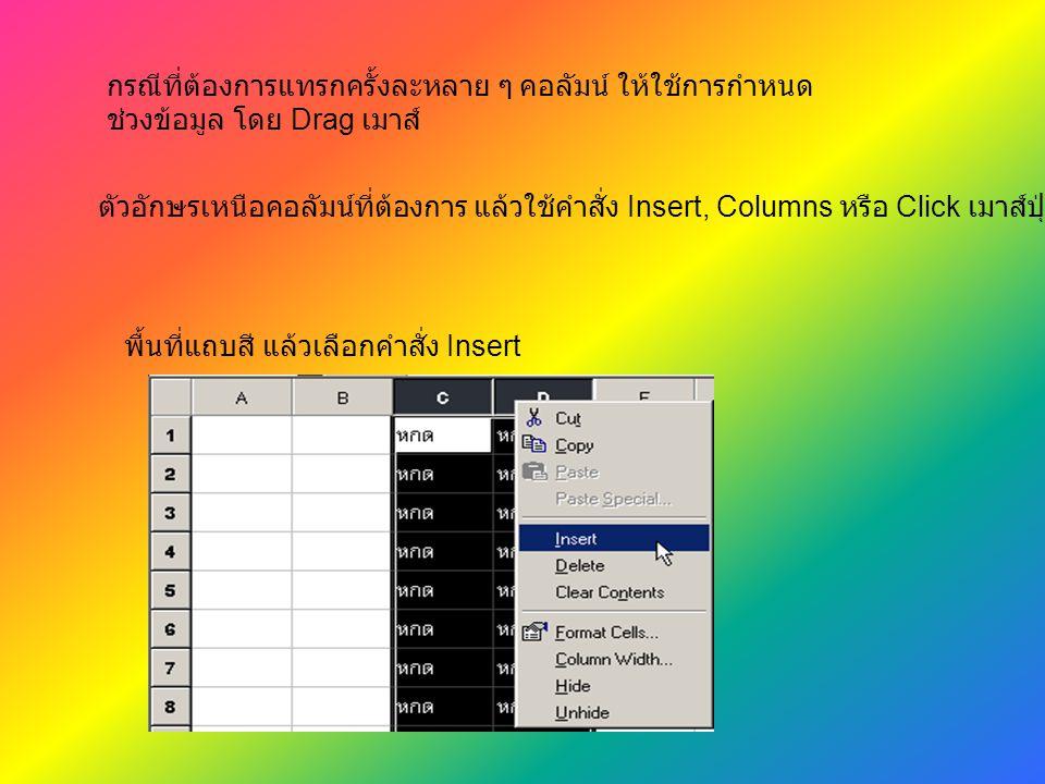 กรณีที่ต้องการแทรกครั้งละหลาย ๆ คอลัมน์ ให้ใช้การกำหนด ช่วงข้อมูล โดย Drag เมาส์ พื้นที่แถบสี แล้วเลือกคำสั่ง Insert ตัวอักษรเหนือคอลัมน์ที่ต้องการ แล