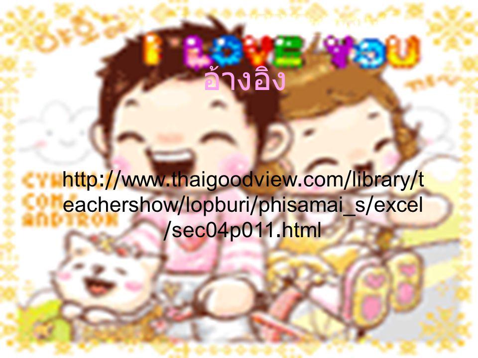 อ้างอิง http://www.thaigoodview.com/library/t eachershow/lopburi/phisamai_s/excel /sec04p011.html