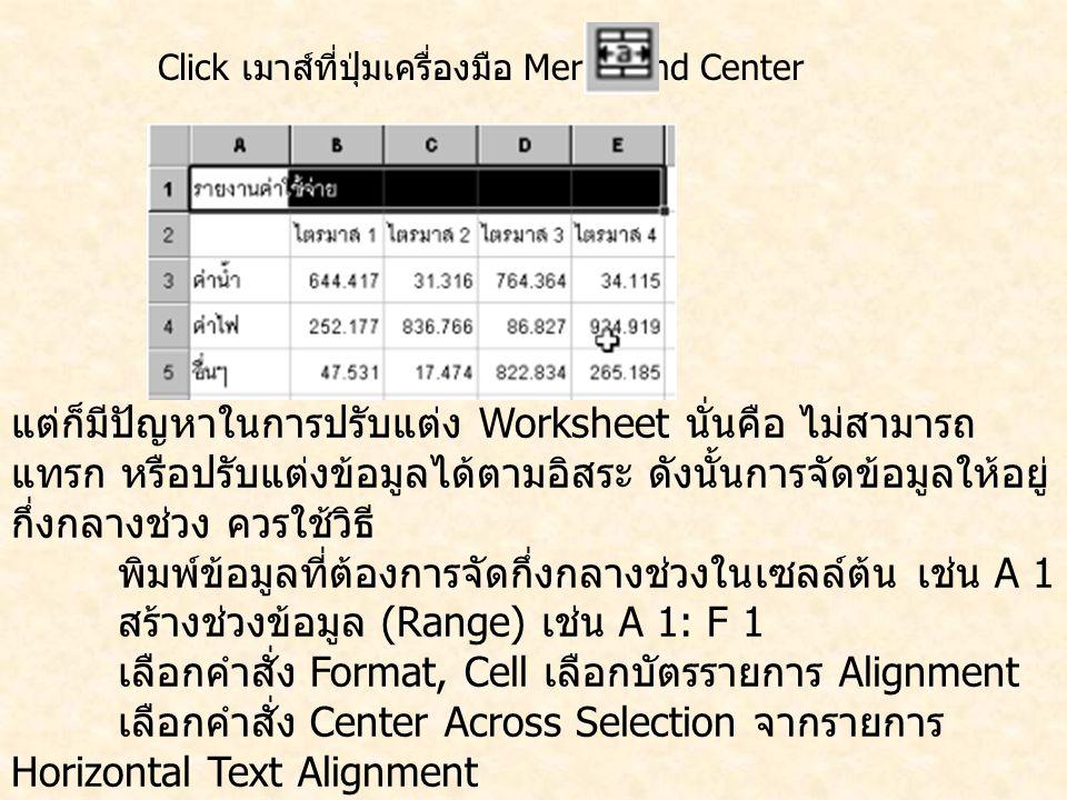 Click เมาส์ที่ปุ่มเครื่องมือ Merge and Center แต่ก็มีปัญหาในการปรับแต่ง Worksheet นั่นคือ ไม่สามารถ แทรก หรือปรับแต่งข้อมูลได้ตามอิสระ ดังนั้นการจัดข้อมูลให้อยู่ กึ่งกลางช่วง ควรใช้วิธี พิมพ์ข้อมูลที่ต้องการจัดกึ่งกลางช่วงในเซลล์ต้น เช่น A 1 สร้างช่วงข้อมูล (Range) เช่น A 1: F 1 เลือกคำสั่ง Format, Cell เลือกบัตรรายการ Alignment เลือกคำสั่ง Center Across Selection จากรายการ Horizontal Text Alignment