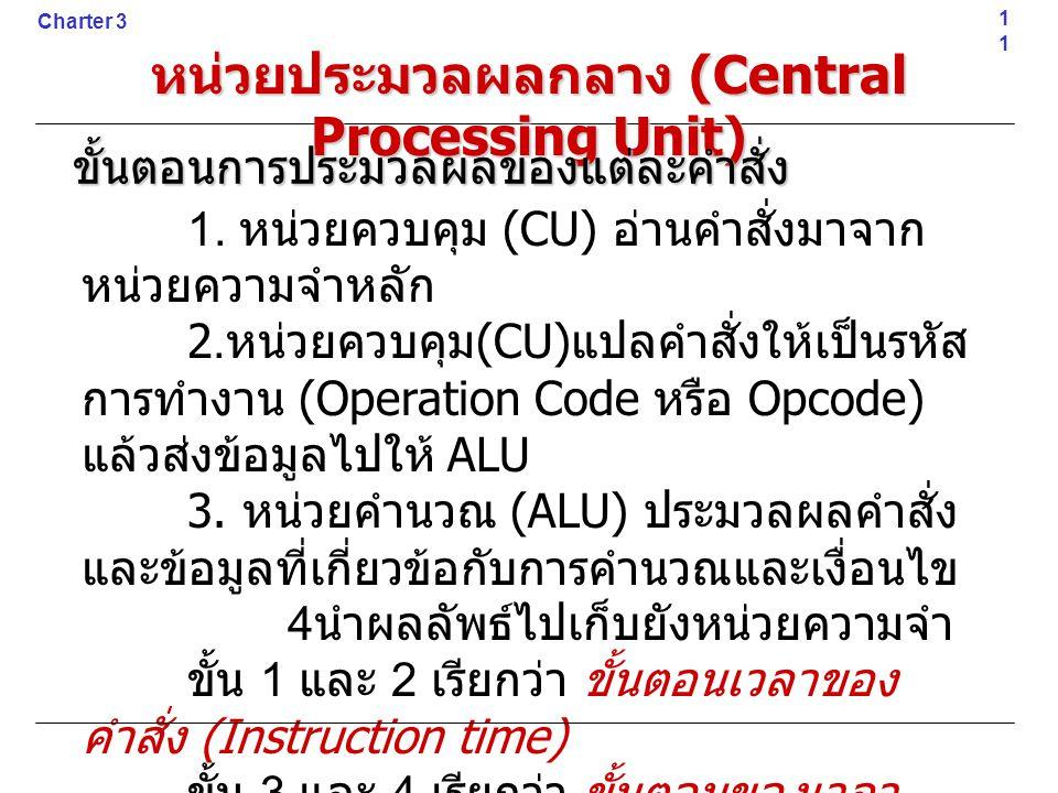 1. หน่วยควบคุม (CU) อ่านคำสั่งมาจาก หน่วยความจำหลัก 2. หน่วยควบคุม (CU) แปลคำสั่งให้เป็นรหัส การทำงาน (Operation Code หรือ Opcode) แล้วส่งข้อมูลไปให้