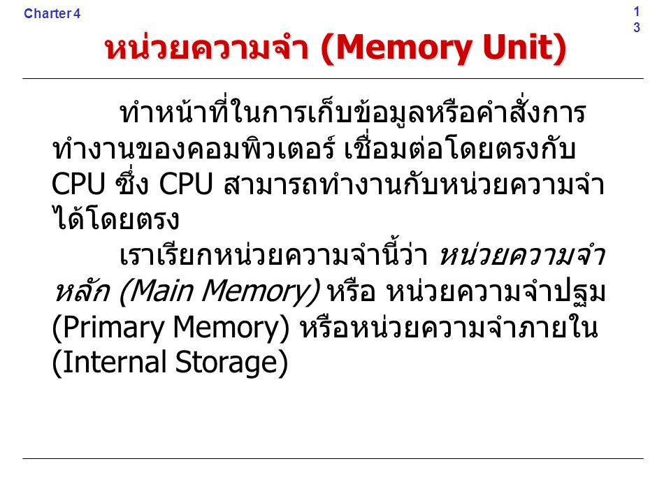 ทำหน้าที่ในการเก็บข้อมูลหรือคำสั่งการ ทำงานของคอมพิวเตอร์ เชื่อมต่อโดยตรงกับ CPU ซึ่ง CPU สามารถทำงานกับหน่วยความจำ ได้โดยตรง เราเรียกหน่วยความจำนี้ว่