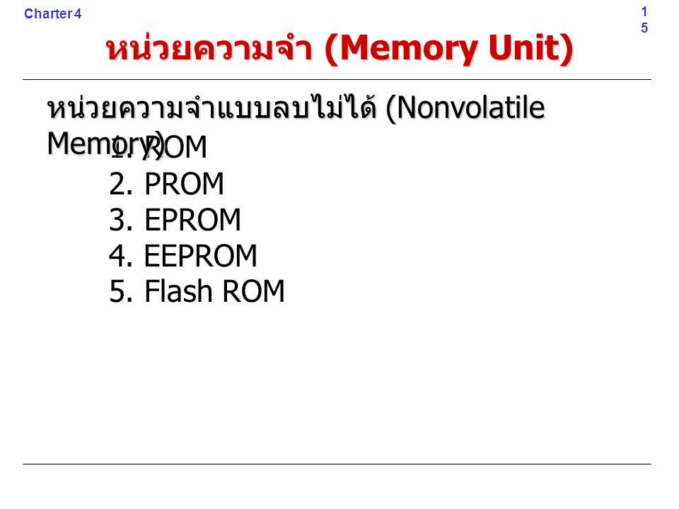 1. ROM 2. PROM 3. EPROM 4. EEPROM 5. Flash ROM15 Charter 4 หน่วยความจำ (Memory Unit) หน่วยความจำแบบลบไม่ได้ (Nonvolatile Memory)