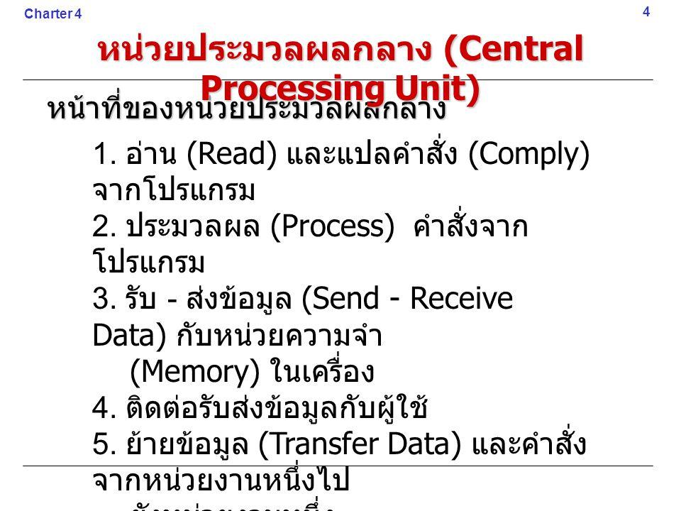 หน้าที่ของหน่วยประมวลผลกลาง 1. อ่าน (Read) และแปลคำสั่ง (Comply) จากโปรแกรม 2. ประมวลผล (Process) คำสั่งจาก โปรแกรม 3. รับ - ส่งข้อมูล (Send - Receive