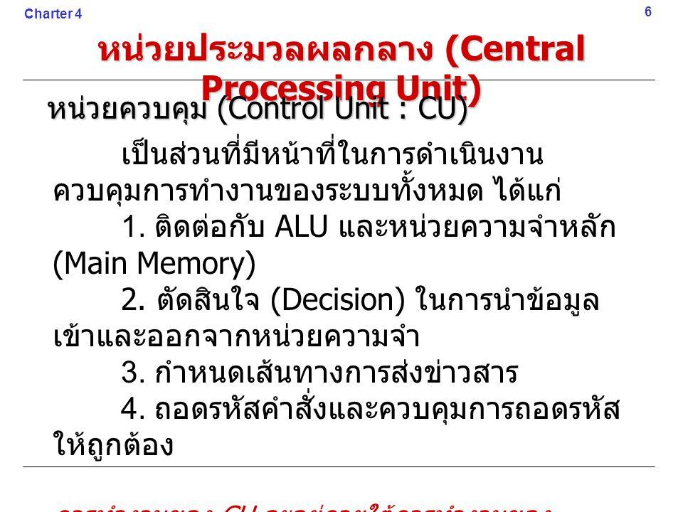 เป็นส่วนที่มีหน้าที่ในการดำเนินงาน ควบคุมการทำงานของระบบทั้งหมด ได้แก่ 1. ติดต่อกับ ALU และหน่วยความจำหลัก (Main Memory) 2. ตัดสินใจ (Decision) ในการน