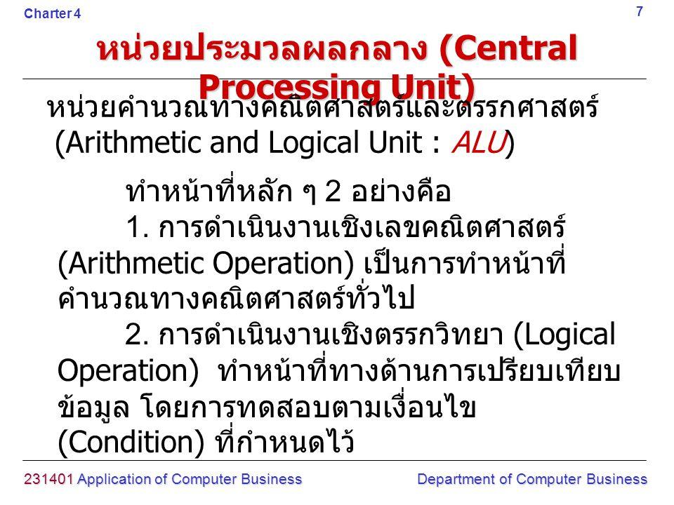 ทำหน้าที่หลัก ๆ 2 อย่างคือ 1. การดำเนินงานเชิงเลขคณิตศาสตร์ (Arithmetic Operation) เป็นการทำหน้าที่ คำนวณทางคณิตศาสตร์ทั่วไป 2. การดำเนินงานเชิงตรรกวิ