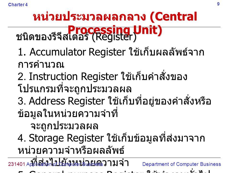 1. Accumulator Register ใช้เก็บผลลัพธ์จาก การคำนวณ 2. Instruction Register ใช้เก็บคำสั่งของ โปรแกรมที่จะถูกประมวลผล 3. Address Register ใช้เก็บที่อยู่