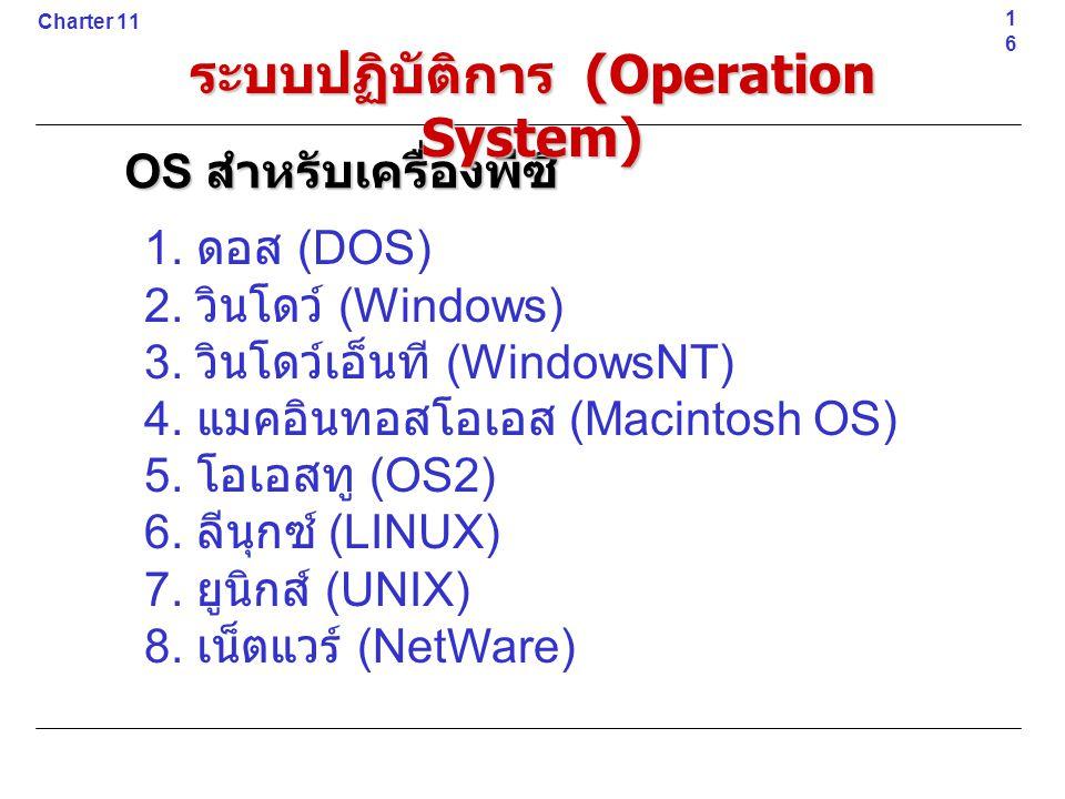 1. ดอส (DOS) 2. วินโดว์ (Windows) 3. วินโดว์เอ็นที (WindowsNT) 4. แมคอินทอสโอเอส (Macintosh OS) 5. โอเอสทู (OS2) 6. ลีนุกซ์ (LINUX) 7. ยูนิกส์ (UNIX)