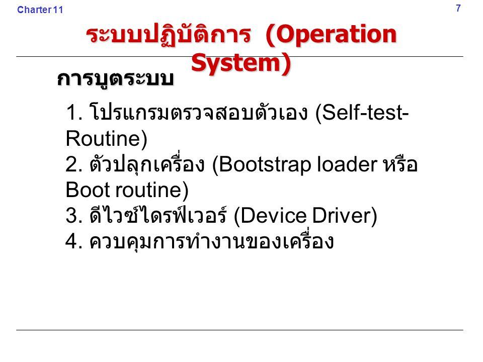 1. โปรแกรมตรวจสอบตัวเอง (Self-test- Routine) 2. ตัวปลุกเครื่อง (Bootstrap loader หรือ Boot routine) 3. ดีไวซ์ไดรฟ์เวอร์ (Device Driver) 4. ควบคุมการทำ