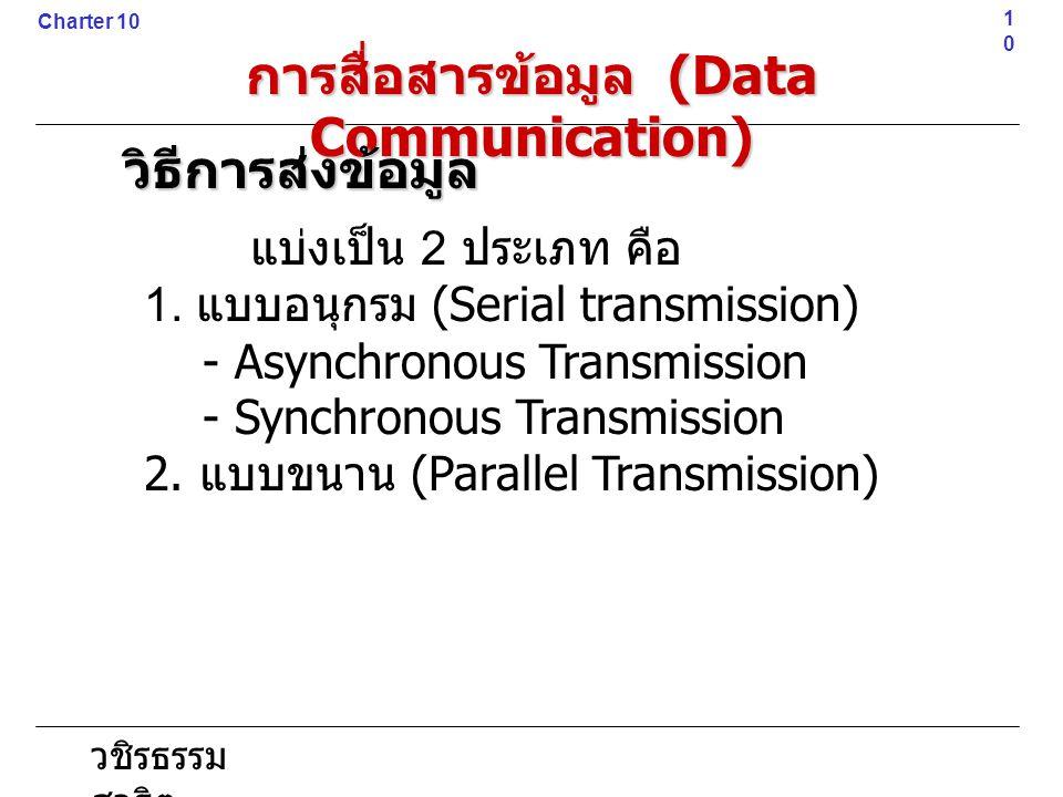 วชิรธรรม สาธิต แบ่งเป็น 2 ประเภท คือ 1. แบบอนุกรม (Serial transmission) - Asynchronous Transmission - Synchronous Transmission 2. แบบขนาน (Parallel Tr