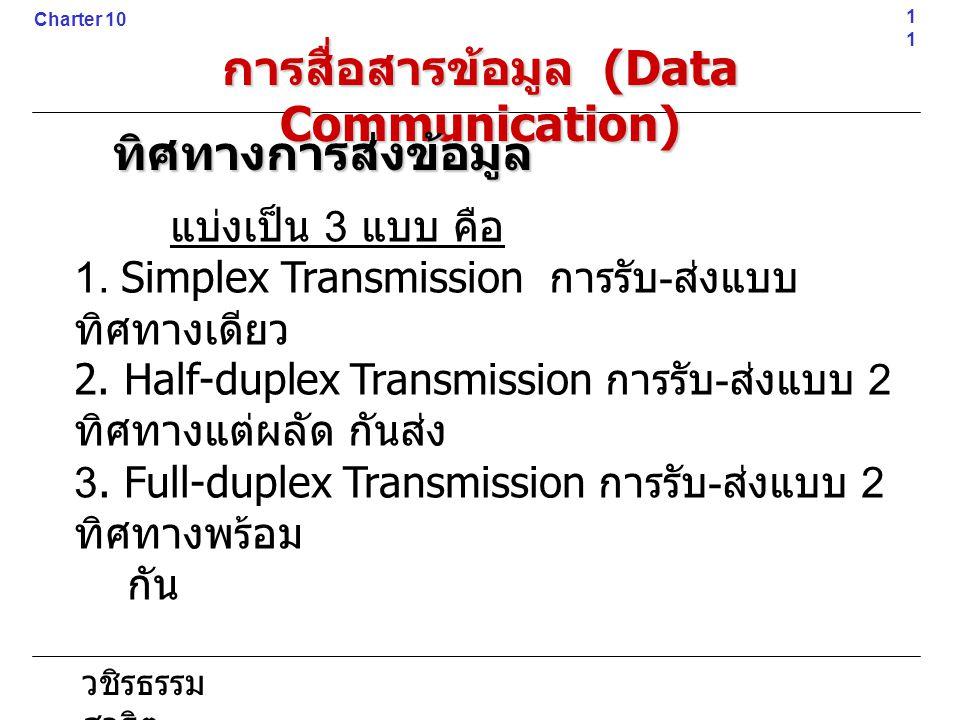 วชิรธรรม สาธิต แบ่งเป็น 3 แบบ คือ 1. Simplex Transmission การรับ - ส่งแบบ ทิศทางเดียว 2. Half-duplex Transmission การรับ - ส่งแบบ 2 ทิศทางแต่ผลัด กันส