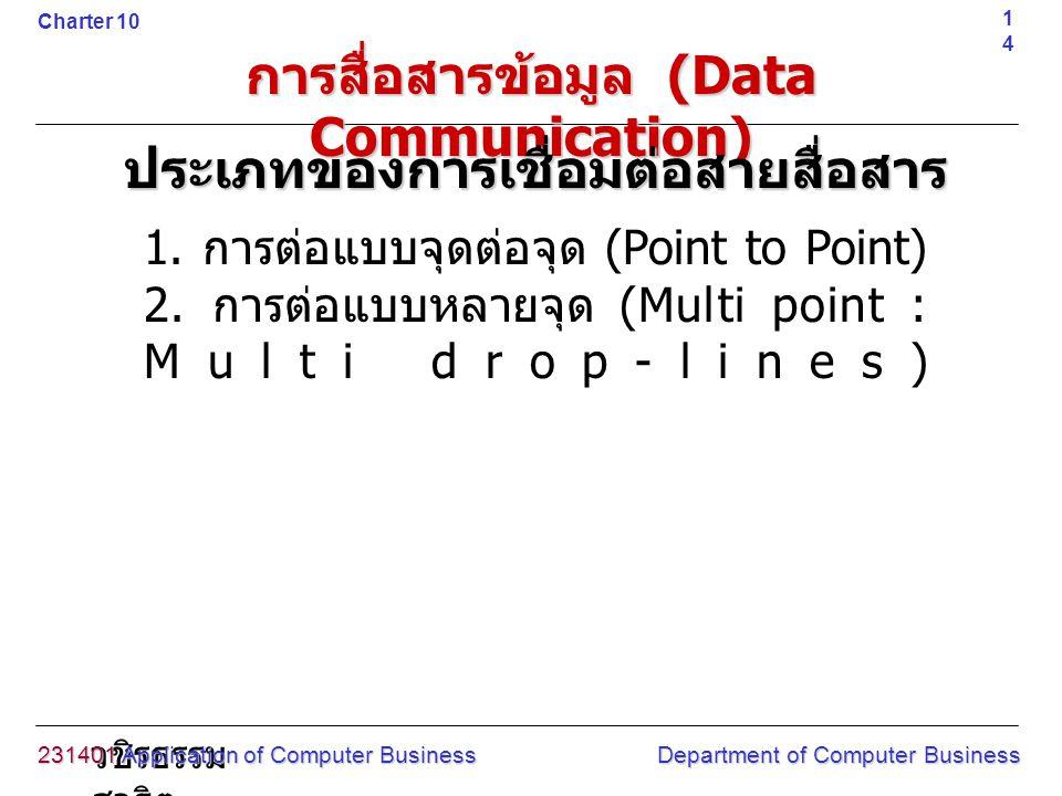 วชิรธรรม สาธิต 1. การต่อแบบจุดต่อจุด (Point to Point) 2. การต่อแบบหลายจุด (Multi point : Multi drop-lines) 231401 Application of Computer Business Dep