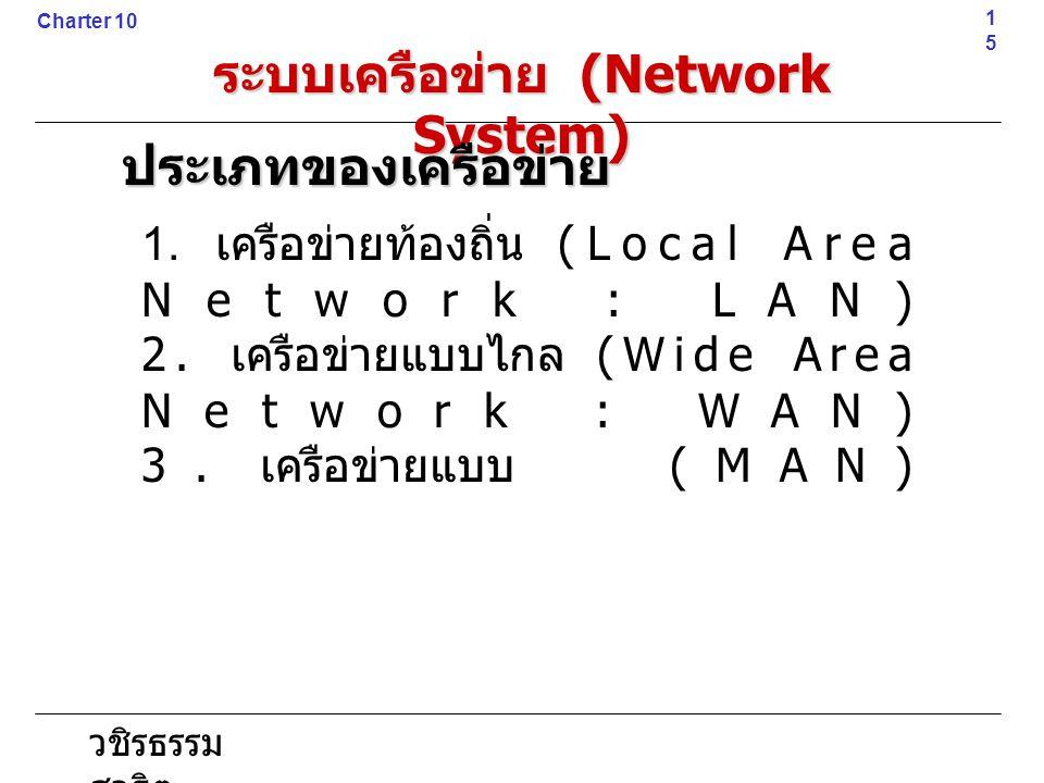 วชิรธรรม สาธิต 1. เครือข่ายท้องถิ่น (Local Area Network : LAN) 2. เครือข่ายแบบไกล (Wide Area Network : WAN) 3. เครือข่ายแบบ (MAN)15 Charter 10 ระบบเคร