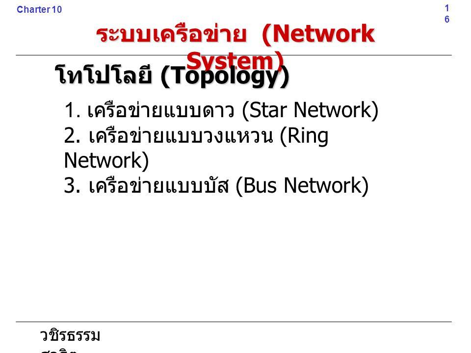 วชิรธรรม สาธิต 1. เครือข่ายแบบดาว (Star Network) 2. เครือข่ายแบบวงแหวน (Ring Network) 3. เครือข่ายแบบบัส (Bus Network)16 Charter 10 ระบบเครือข่าย (Net