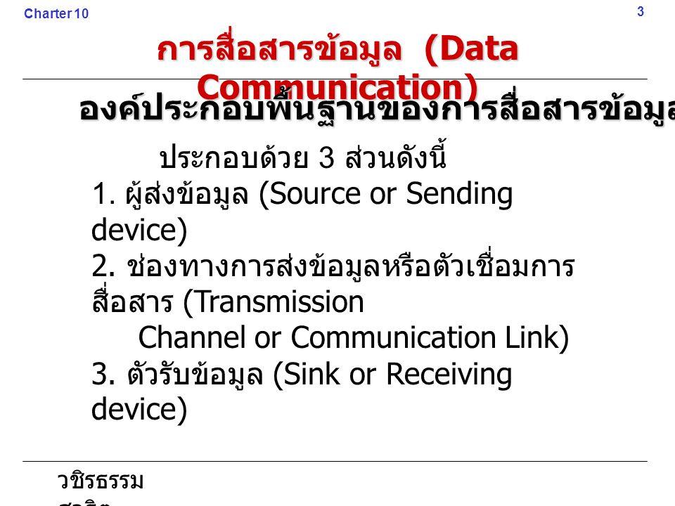 วชิรธรรม สาธิต ประกอบด้วย 3 ส่วนดังนี้ 1. ผู้ส่งข้อมูล (Source or Sending device) 2. ช่องทางการส่งข้อมูลหรือตัวเชื่อมการ สื่อสาร (Transmission Channel
