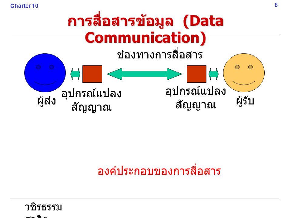 วชิรธรรม สาธิต 8 Charter 10 การสื่อสารข้อมูล (Data Communication) ผู้ส่งผู้รับ อุปกรณ์แปลง สัญญาณ อุปกรณ์แปลง สัญญาณ ช่องทางการสื่อสาร องค์ประกอบของกา