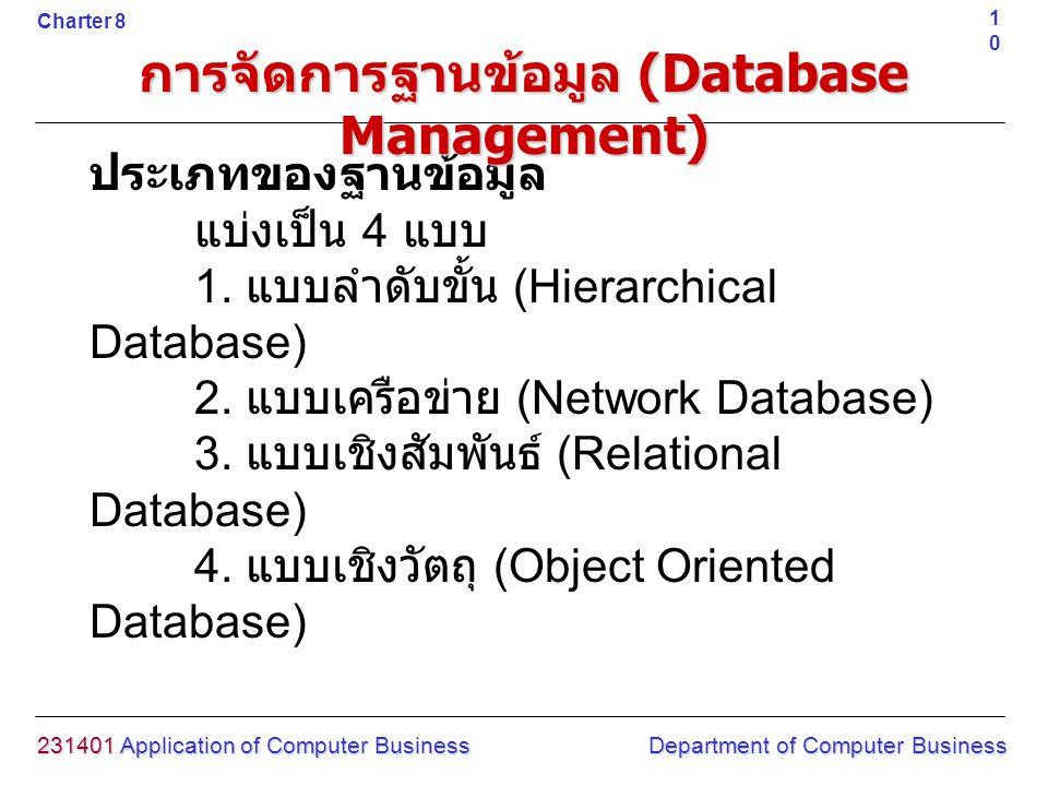 ประเภทของฐานข้อมูล แบ่งเป็น 4 แบบ 1. แบบลำดับขั้น (Hierarchical Database) 2. แบบเครือข่าย (Network Database) 3. แบบเชิงสัมพันธ์ (Relational Database)