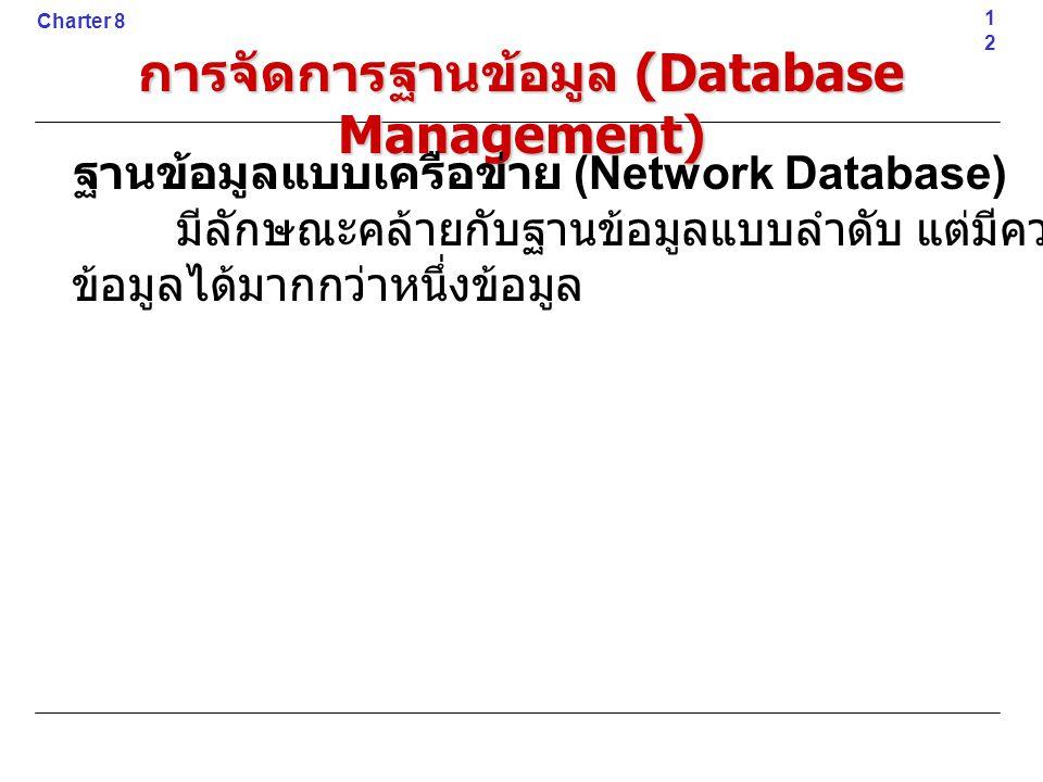 12 Charter 8 การจัดการฐานข้อมูล (Database Management) ฐานข้อมูลแบบเครือข่าย (Network Database) มีลักษณะคล้ายกับฐานข้อมูลแบบลำดับ แต่มีความสัมพันธ์กับ