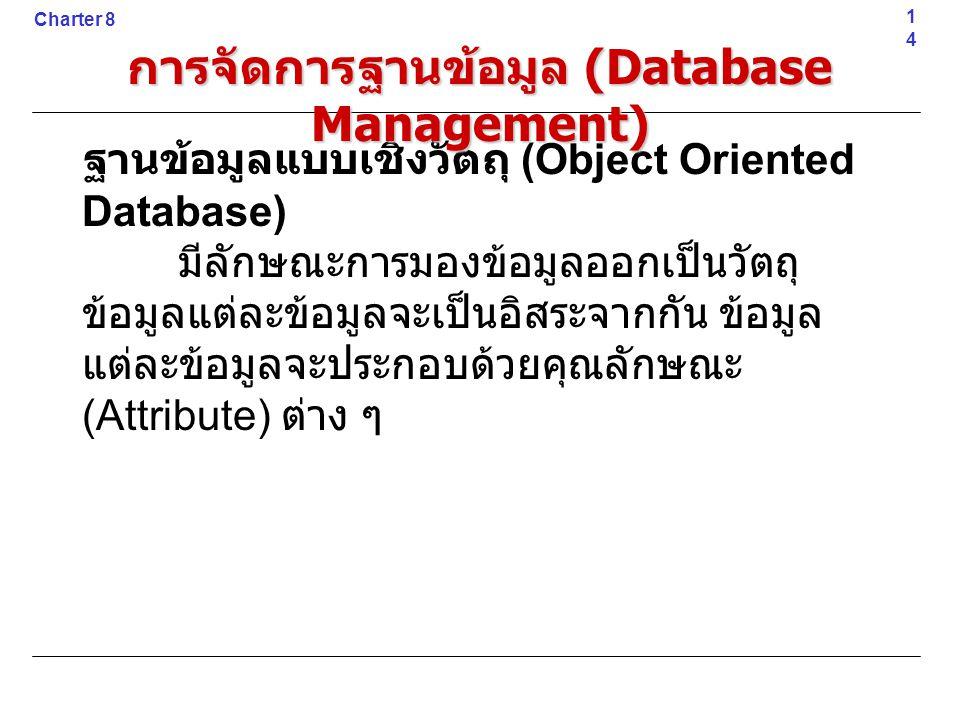 ฐานข้อมูลแบบเชิงวัตถุ (Object Oriented Database) มีลักษณะการมองข้อมูลออกเป็นวัตถุ ข้อมูลแต่ละข้อมูลจะเป็นอิสระจากกัน ข้อมูล แต่ละข้อมูลจะประกอบด้วยคุณ