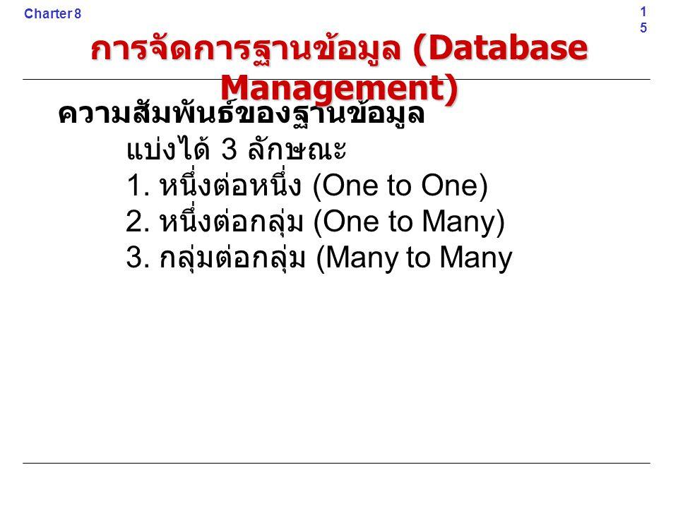 ความสัมพันธ์ของฐานข้อมูล แบ่งได้ 3 ลักษณะ 1. หนึ่งต่อหนึ่ง (One to One) 2. หนึ่งต่อกลุ่ม (One to Many) 3. กลุ่มต่อกลุ่ม (Many to Many15 Charter 8 การจ